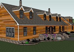 美式住宅建筑设计SU(草图大师)模型