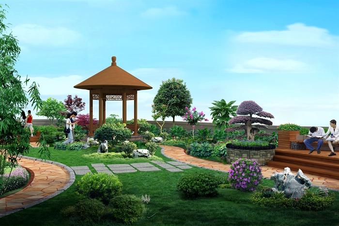 屋顶花园设计cad施工图(含效果图)[原创]