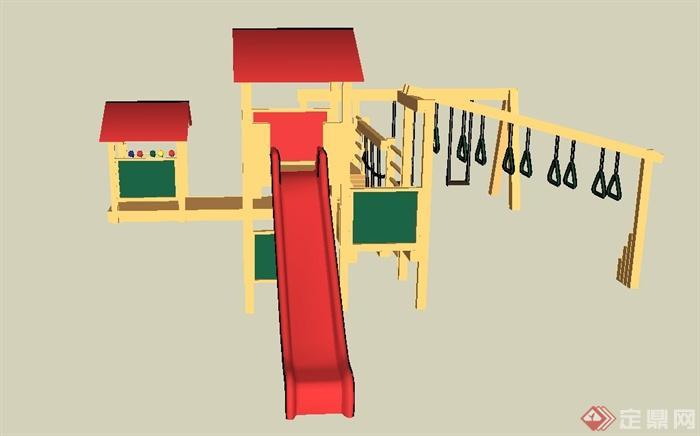 木质儿童游乐设施su模型(2)