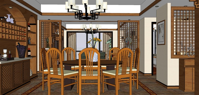 新中式室内装修设计su模型