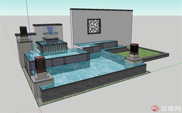 现代中式景墙喷泉水池设计su模型(2)图片