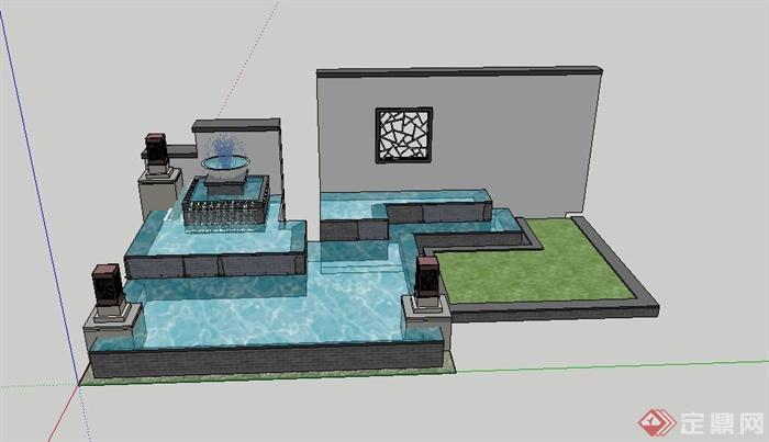 现代中式景墙喷泉水池设计su模型(1)图片