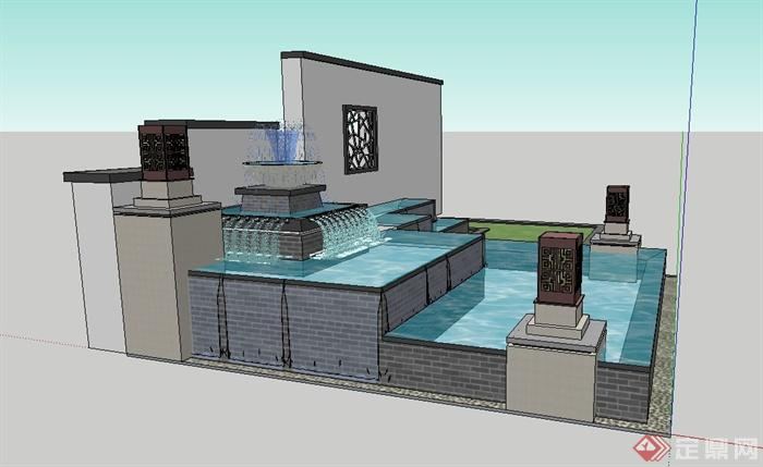 现代中式景墙喷泉水池设计su模型(3)图片