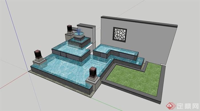 现代中式景墙喷泉水池设计su模型(4)图片