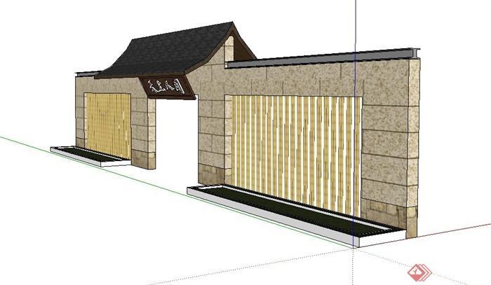 某现代中式景墙大门设计su模型