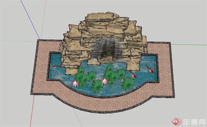 假山水池水景设计su模型