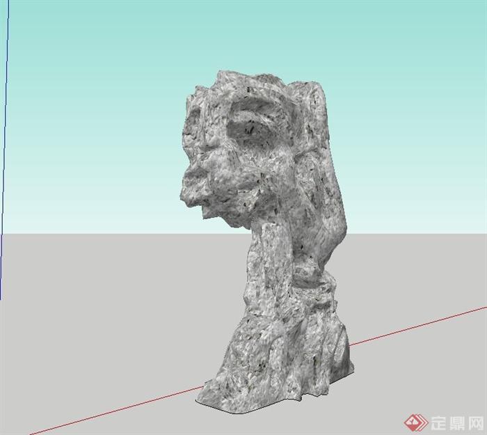 景石小品设计su模型(3)
