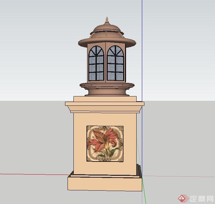欧式灯柱设计su模型