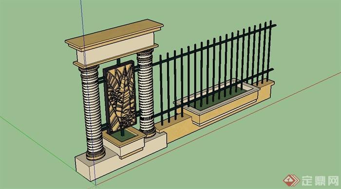 欧式围墙栏杆设计su模型(2)图片