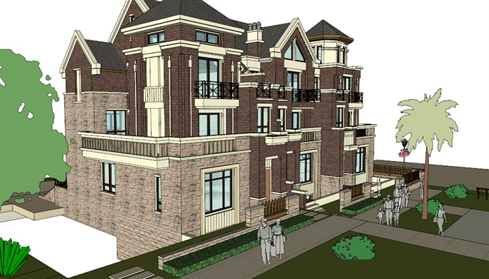 四层两排机械建筑设计su模型[原创]惠普4436s做别墅v机械图片