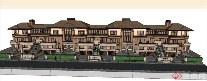 三层欧式联排别墅建筑设计su模型(1)