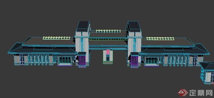 三款中式大门门廊入口设计su模型(1)
