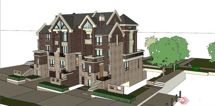 四层两排别墅建筑设计su模型[原创]图绘制产品淘宝ps图片