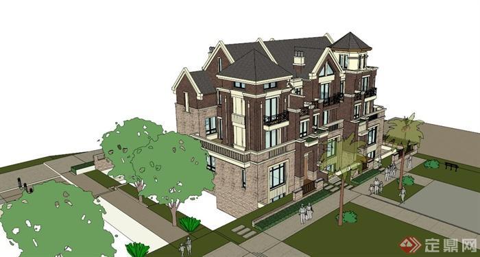 四层两排颜色建筑设计su别墅[原创]家装设计模型忌讳图片