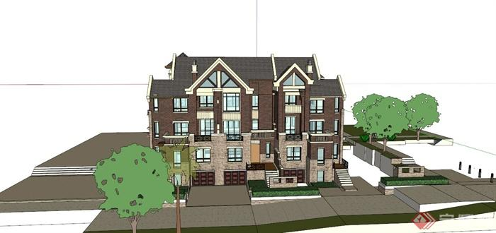 四层两排别墅建筑设计su模型[原创]怀远县规划建筑设计招聘图片