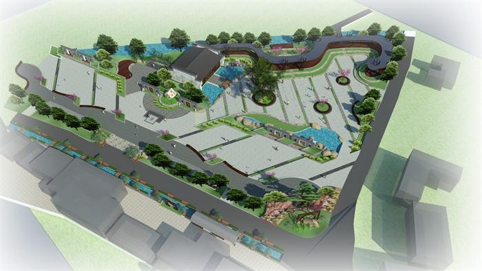 古典中式公园广场景观设计su模型[原创]