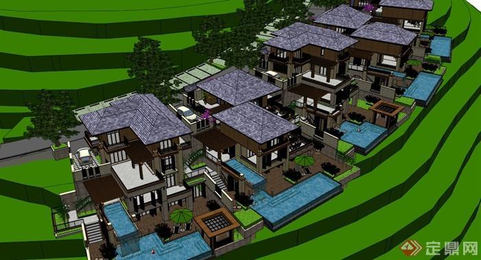 欧式山地别墅建筑设计su模型(3)