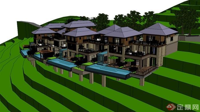 欧式山地别墅建筑设计su模型(5)