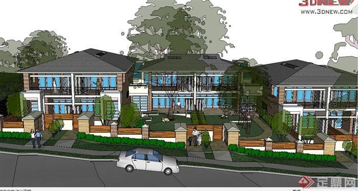 某简欧风格两层别墅建筑设计su模型(1)