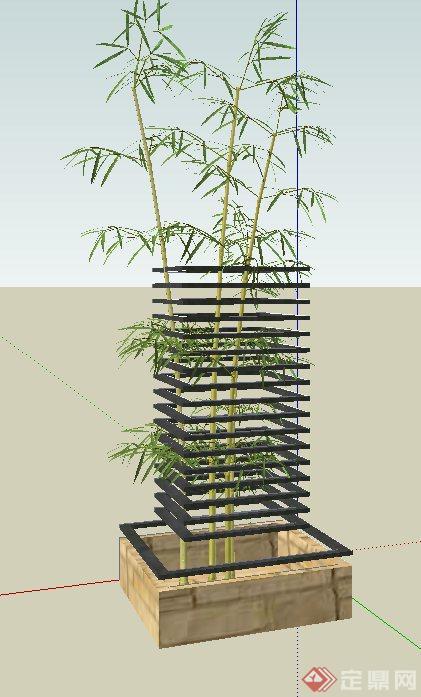 园林景观节点铁艺花池围栏设计su模型
