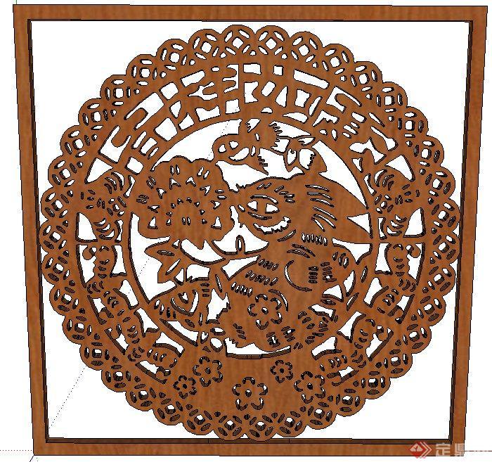木质方形窗花纹理设计su模型(1)