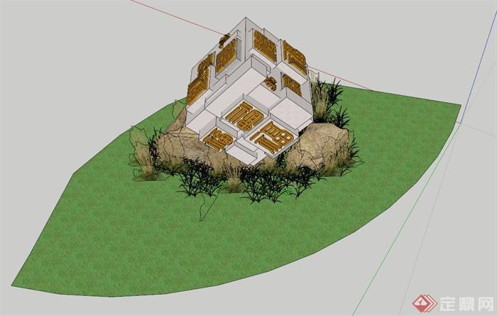 公园小品设计su模型(含小品,景石)(3)