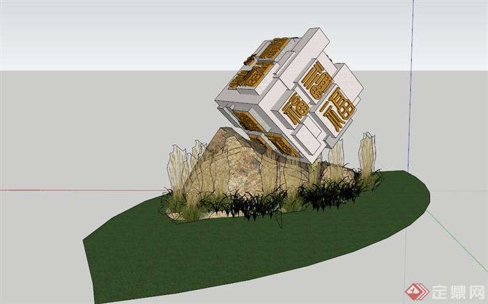 公园小品设计su模型(含小品,景石)(2)