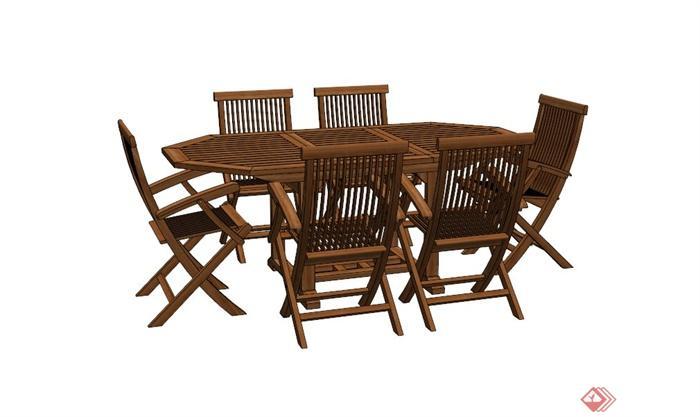 木制桌椅组合设计su模型