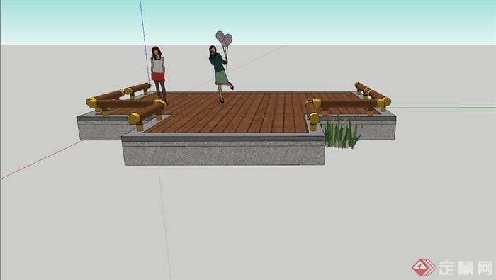 某现代木栈道设计su模型
