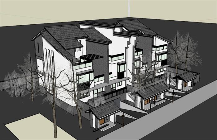 现代中式瓦房屋顶别墅建筑设计su模型[原创]