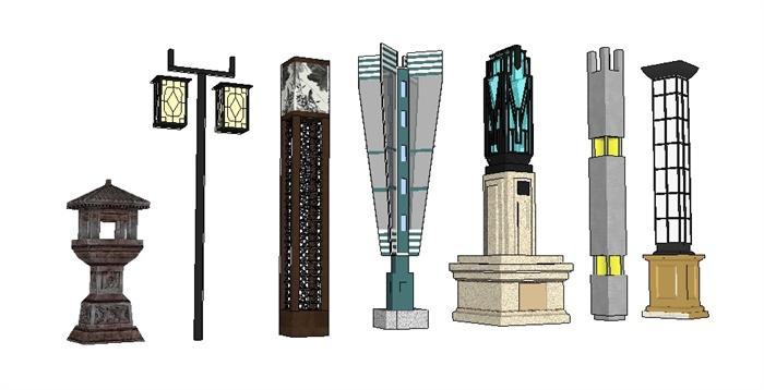 各种景观灯柱su精致设计模型[原创]