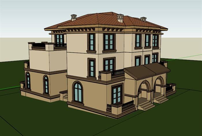 两栋联排欧式别墅建筑设计su模型