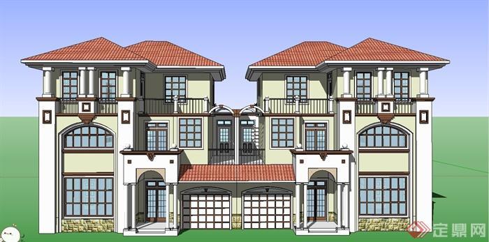 某欧式风格三层双拼别墅建筑设计su模型[原创]