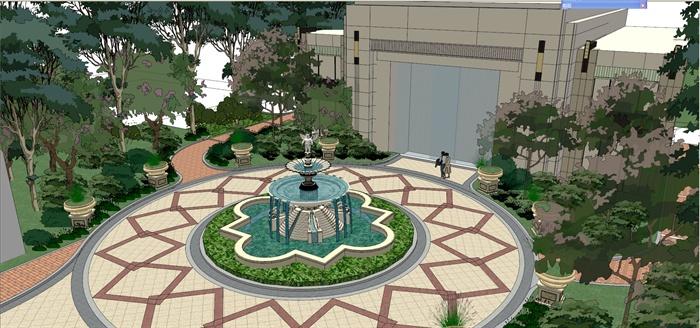 某法式小区入口景观设计su模型[原创]