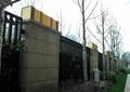 围墙,围墙栏杆,路灯,树池