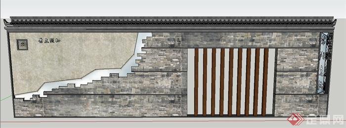 园林景观节点青砖景墙文化墙设计su模型(1)
