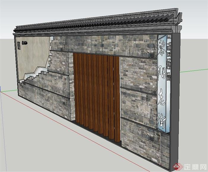 园林景观节点青砖景墙文化墙设计su模型(2)