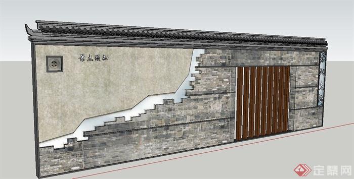 园林景观节点青砖景墙文化墙设计su模型(3)