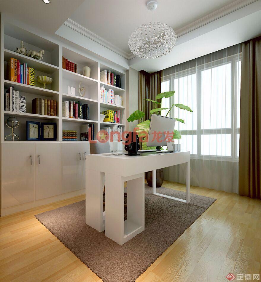 【书房装修效果图】图片来源于:西安龙发装饰公司官网一个简易书架,一