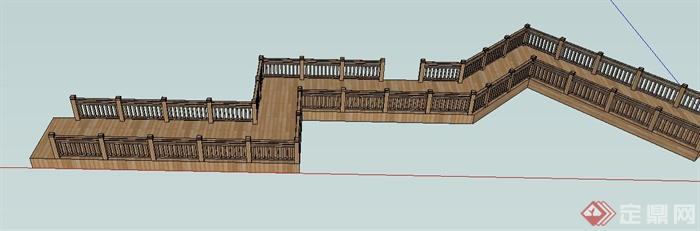 木质曲折栈道桥设计SU模型