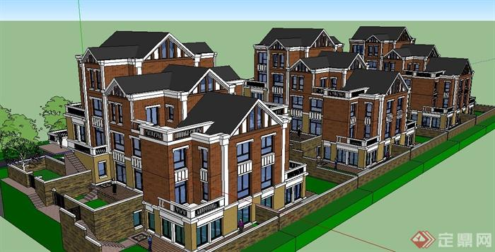 新古典风格台阶式三层别墅建筑设计su模型[原创]
