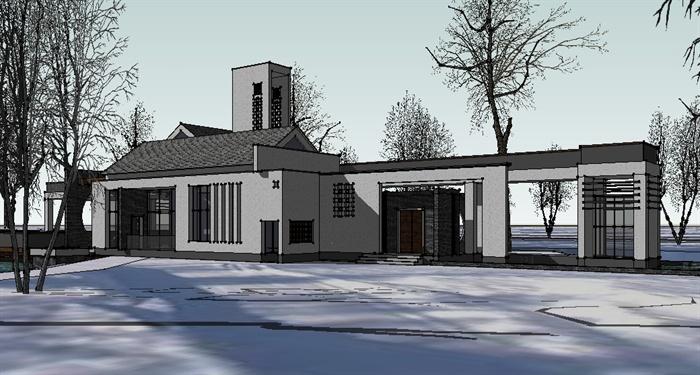 新中式滨水会所建筑设计su模型(1)图片