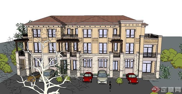 欧式三层联排别墅住宅建筑设计su模型(1)