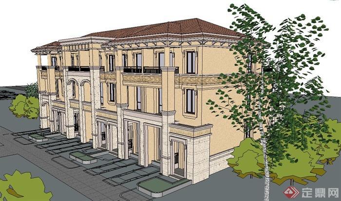 欧式三层联排别墅住宅建筑设计su模型[原创]
