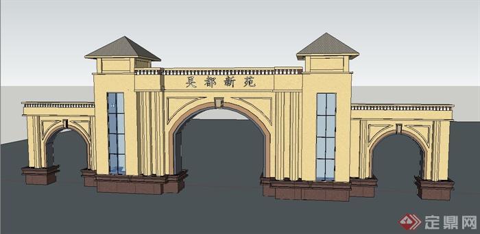 住宅小区欧式大门设计su模型+psd效果图[原创]