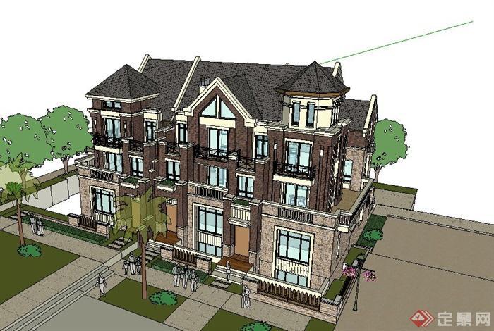 新古典别墅四层风格字体建筑设计SU双拼[翠v别墅模型字图片