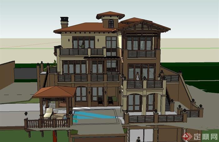 三层欧式坡地别墅建筑设计su模型(1)