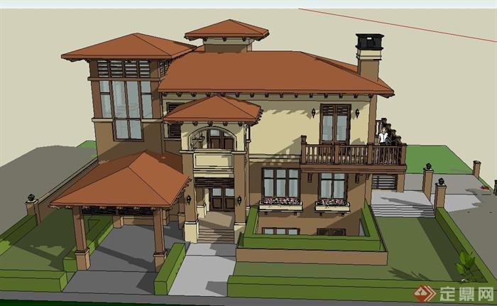 三层欧式坡地别墅建筑设计su模型(3)