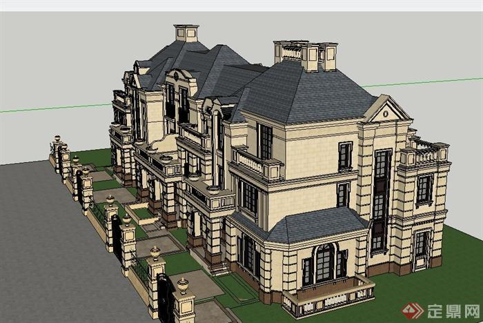 欧式三层联排住宅别墅建筑设计su模型[原创]