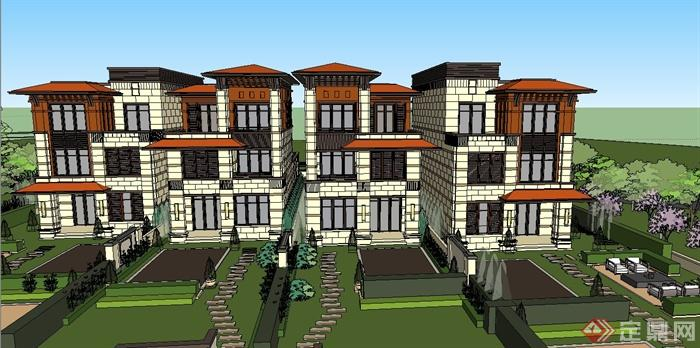 欧式三层滨河别墅建筑设计su模型(1)